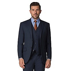 Jeff Banks - Blue semi plain wool blend 2 button modern regular fit suit jacket