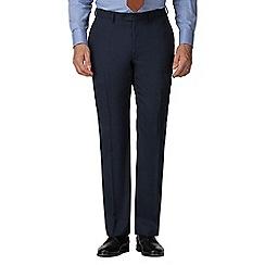 Jeff Banks - Blue semi plain wool blend flat front regular fit suit trouser