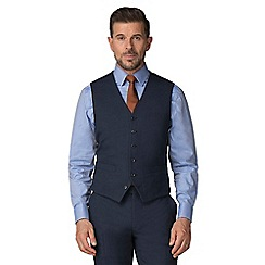 Jeff Banks - Blue semi plain wool blend flat front regular fit waistcoat
