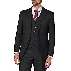 Jeff Banks - Charcoal semi plain wool blend 2 button modern regular fit suit jacket