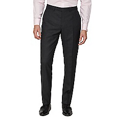 Jeff Banks - Charcoal semi plain wool blend flat front regular fit suit trouser