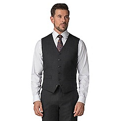 Jeff Banks - Charcoal semi plain wool blend flat front regular fit waistcoat