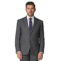 Jeff Banks - Grey semi plain wool blend 2 button modern regular fit suit