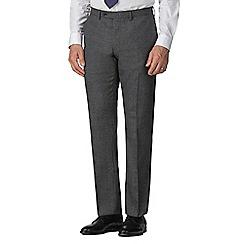 Jeff Banks - Grey semi plain wool blend flat front regular fit suit trouser