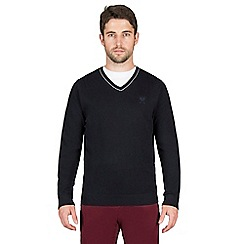 Jeff Banks - Navy cashmere blend v neck jumper