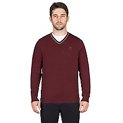 Jeff Banks - Red cashmere blend v neck jumper