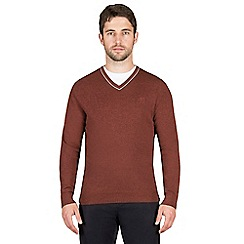 Jeff Banks - Burnt orange cashmere blend v neck jumper