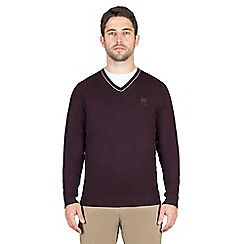 Jeff Banks - Purple cashmere blend v neck jumper