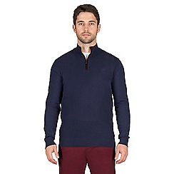 Jeff Banks - Blue diamond weave half zip jumper