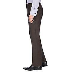 Jeff Banks - Brown textured machine washable tailored fit wool blend formal trouser