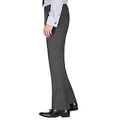 Jeff Banks - Grey birdseye machine washable slim fit wool blend formal trouser