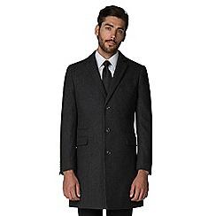 Racing Green - Grey herringbone overcoat