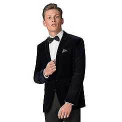 Red Herring - Navy velvet slim fit jacket