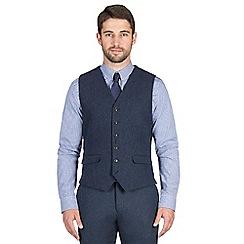 Jeff Banks - Blue textured weave waistcoat