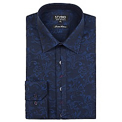 Stvdio by Jeff Banks - Limited edition navy swirl jacquard shirt