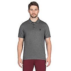 Jeff Banks - Grey grid jacquard polo shirt