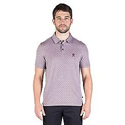 Jeff Banks - Plum two tone diamond polo shirt