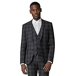 Ben Sherman - Grey and navy check slim fit suit