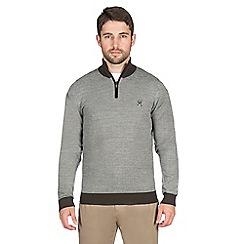 Jeff Banks - Green textured stitch half zip jumper