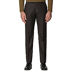 Racing Green - Brown textured tailored trousers