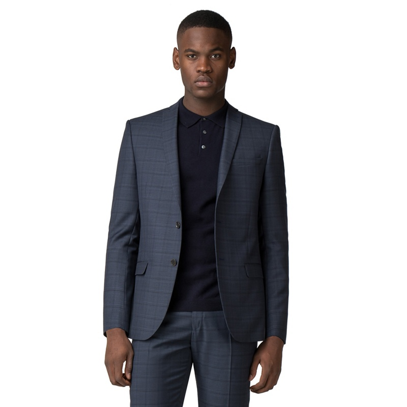 c9a633f76371 Red Herring - Blue With Navy Overcheck Slim Fit Jacket