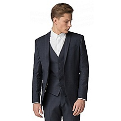 Ben Sherman - Slate blue tonal check slim fit suit