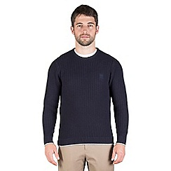 Jeff Banks - Navy chunky textured crew neck jumper