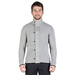 Jeff Banks - Grey chunky textured full zip jumper