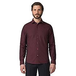Jeff Banks - Wine checkerboard dobby shirt