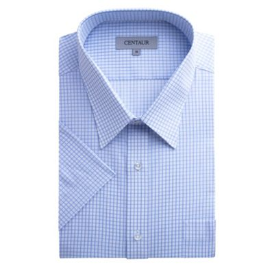 Centaur Big & Tall Big and tall blue check short sleeve generous fit shirt - . -