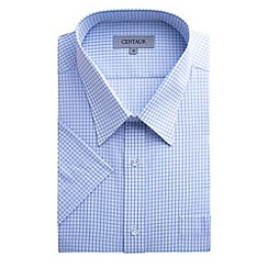 Centaur Big & Tall - Big and tall blue check short sleeve generous fit shirt