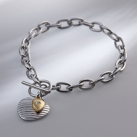 Belleek Living - Silver +Two Hearts+ Bracelet