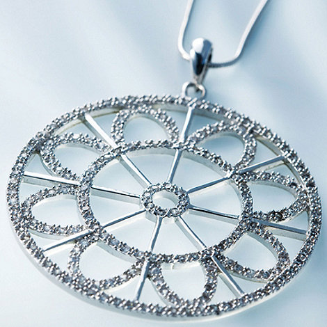 Belleek Living - Sterling silver round sparkle necklace