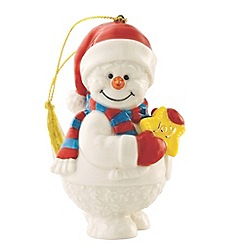 Belleek Living - Multicoloured Snowman with joy hanging Christmas ornament