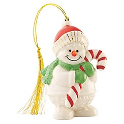 Belleek Living - Multicoloured Snowman with candy cane hanging Christmas ornament