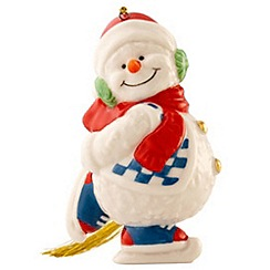 Belleek Living - Multicoloured ice skating Snowman hanging Christmas ornament