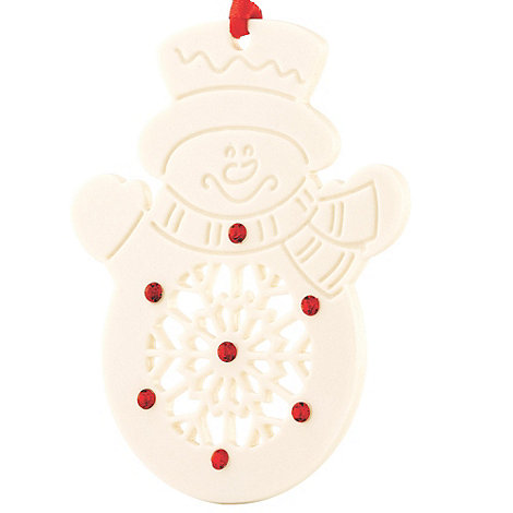 Belleek Living - White hanging Snowman Christmas ornament