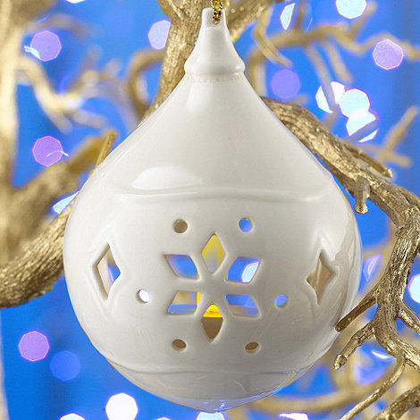 Belleek Living - Ivory Snowflake Pierced Lantern Christmas Votive