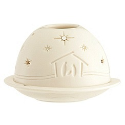 Belleek Living - White Nativity dome Christmas votive