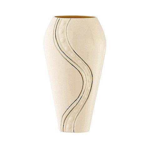 Belleek Living - Ivory +Silver Ripple+ 12 Inch Vase