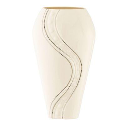Belleek Living Cream Silver Ripple 9inch Vase - . -