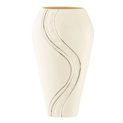 Belleek Living - Cream Silver Ripple 9inch Vase