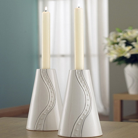 Belleek Living - Ivory +Silver Ripple+ 9 Inch Pair Of Candlesticks
