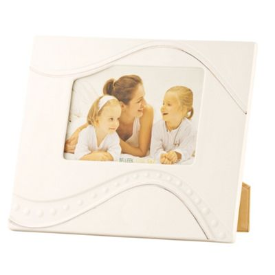Belleek Living Cream Silver Ripple 5X7 Photo Frame - . -