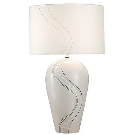 Belleek Living - Ivory +Silver Ripple+ Lamp