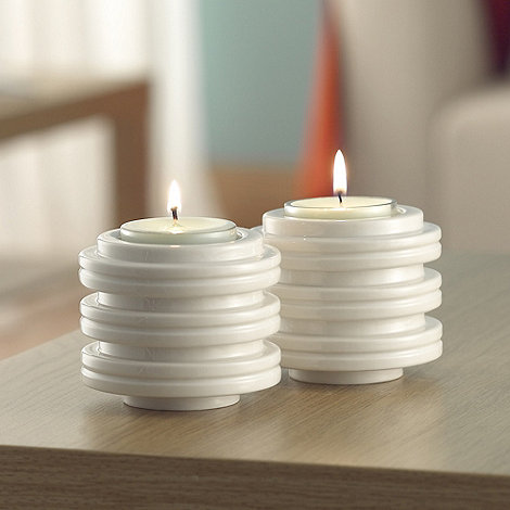 Belleek Living - Ivory +Orbit+ Candleholder/Votive Set