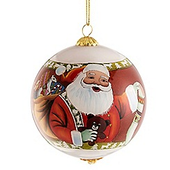 Belleek Living - Santa and stocking glass bauble