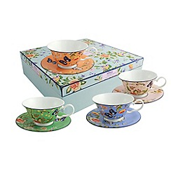 Aynsley China - Cottage Garden set of 4 mixed windsor teacups and saucers