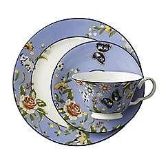 Aynsley China - Cottage Garden Windsor Teacup, Saucer and Plate Set - Blue