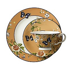 Aynsley China - Cottage Garden Windsor Teacup, Saucer and Plate Set - Orange